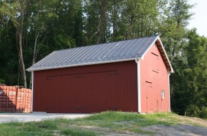 New Timberframe Equipment Shed, View of Completed Structure