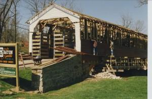 Utica Covered Bridge During Construction