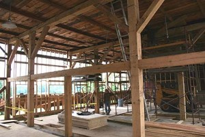New Bent Carries Floor Framing and Flooring for a High Second Level.