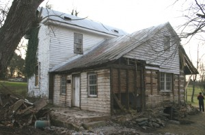 With the Siding Removed the Various Periods of Modification to the Original Building Appear