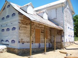 Log and Frame House Restoration -- Rear Log Ell After Completion
