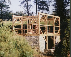 This timber frame home stands on a new solid stone foundation.