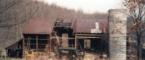 Dahlgren Street barn restoration project, shortly before the beginning of the rescue and restoration project.