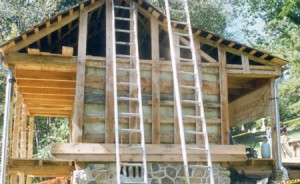 This new log cabin was finished with clapboards.  Here, logs and nailers exposed before clapboarding.