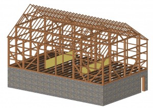 Computer Model Of Barn Frame Made Before Construction
