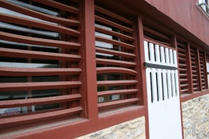 Forebay Wall Louvers and Doors Reused Over New Windows and Doors