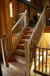 Barn Conversion Completed in Dec. 2008, New Interior Stair (Photograph Courtesy of Fitzgerald's Heavy Timber Construction, Inc., 2006).