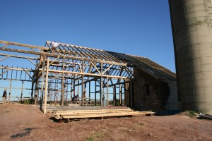 Framing Repairs Complete -- New Roof Rafters Going Up