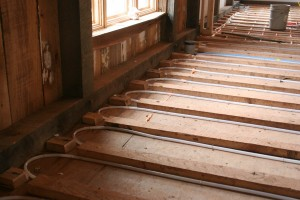 Tubing Installed In Floor For Radiant Heating and Cooling