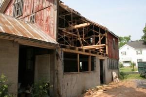 Beginning Restoration -- Stabilization Rigging and Demo Underway