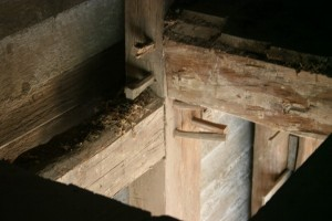 Beautiful Early Timber Frame Joinery In the Main House