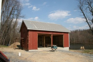 Poplar Siding Going On -- Terne Roof Before Painting