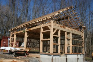 Frame Complete With Roof -- Gable Showing Framing for Pedestrian Door