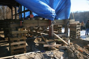Frame Rigged and Lifted -- Foundation Piers Formed