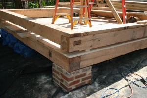 Corner Joinery Detail -- Concrete Piers Were Wrapped With Salvaged Antique Bricks