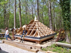 Hip Roof Framing And Skip-Sheathing Completed