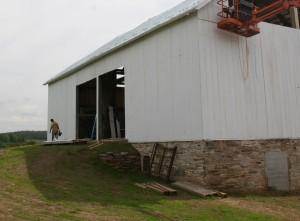 Earthen Barn Bridge Restored -- Note New Stone Wall Near Foundation Window
