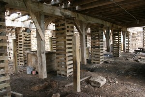 Cribbing In Parlor Level Supports Summer Beams and Floor Framing During Repairs