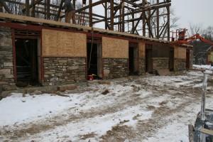 Forebay Wall Rebuilt -- Stonework Awaits Repointing