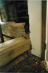 Original Log Corner Showing V-Notch Joints