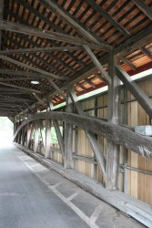 Interior view of east truss showing new poplar siding and underside of cedar roof.