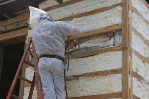 The insulation foam (Icynene) is brought up flush with the siding nailers, providing a very snug building envelope.