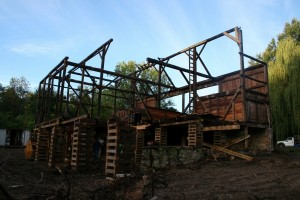 The roof is finally removed.  A major turning point in the restoration process.
