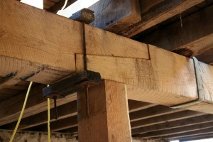 New summer beams use the same joinery as the originals.