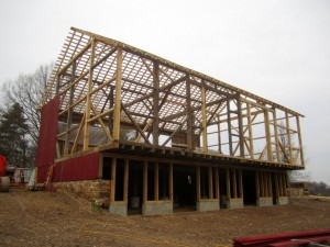 With all framing complete, the barn is ready for new roofing and siding.