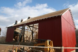 Our traditional standing seam roof goes on in full-length pans which are mated together and then double-folded and crimped for a weatherproof seal.
