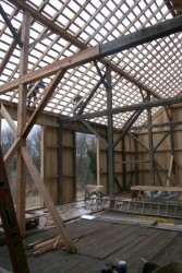 """The new roof is installed on 1"""" thick strips of oak or poplar nailed to the rafters every 12""""."""