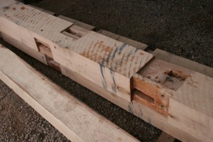 A closer view of the bearing shoulders and spline mortises in a post.