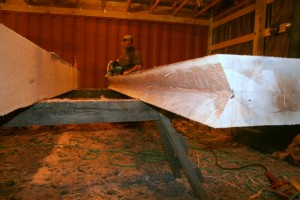 Cutting these begins with creating the valley cut in the top of the rafter itself.  These planes represent the inner edges of the two roof planes which intersect at this rafter.