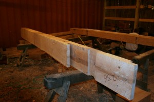 """The ridge timbers are made quite strong as the rafters are suspended from it so it carries a great deal of the roof load.  Timber cross section is 8"""" x 14""""."""