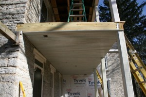"""We're installing a new traditional porch ceiling of double-beaded 2"""" boards which are spaced slightly apart to allow good airflow through the porch framing to promote drying if any moisture enters the porch floor."""