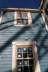 """The """"Linseed Blue"""" color of our natural linseed oil-based paint fits perfectly in this historic setting."""
