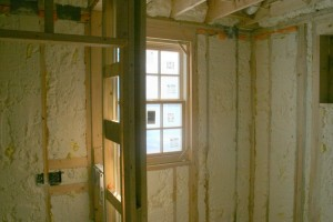 We used Icynene sprayed-in open cell insulation in the walls and ceiling to make the structure as airtight and well-insulated as possible.  It also has the benefit of greatly discouraging vermin from making homes in the wall cavities.