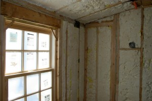 These bathrooms, unfinished though they are, are now the most energy efficient rooms in the house.