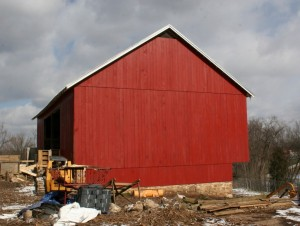 Final Coat of Linseed Oil Paint Protects the Siding and Makes the Barn Shine Again