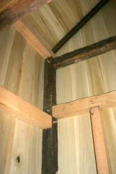 New and old framing mated with traditional joinery.