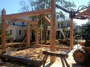 """First """"box"""" erected.  Now as we raise the frame, each new piece is stabilized by the already standing sections."""