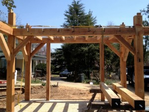 As we work back through the frame we can install the joists for the second floor.