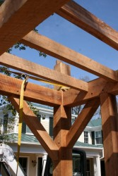 A rough-sawn oak floor will be fastened to these joists and they'll remain visible from below.