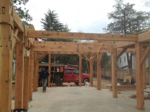 """There's our double beam, keyed together, to equal 20"""" of solid oak.  It has to carry a major portion of the roof load at the center of its span."""