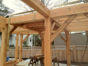 Keeping the 2nd floor framing compact was an important design goal of this building.  We've extensively used spline joinery to be able to secure multiple large girts to a post at the same elevation.