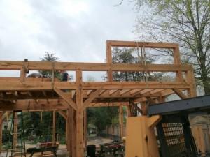 Framework to support dormer roof.
