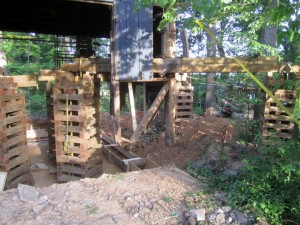 With the bad sills gone and the crumbling old foundation out of the way, the barn really appears to float.
