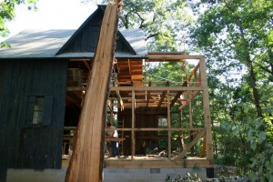 With the framing completed the barn is sound and ready for siding.