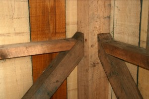 Our reproduction framing is joined exactly as the original had been.  In this case, a combination of mortise-and-tenon joinery and nailed connections.