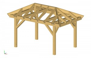 We started with the Architect's drawings for the deck and designed a timber frame to match his vision.